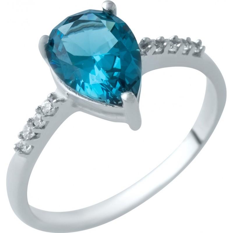 Серебряное кольцо SilverBreeze с натуральным топазом Лондон Блю (1929575) 17 размер