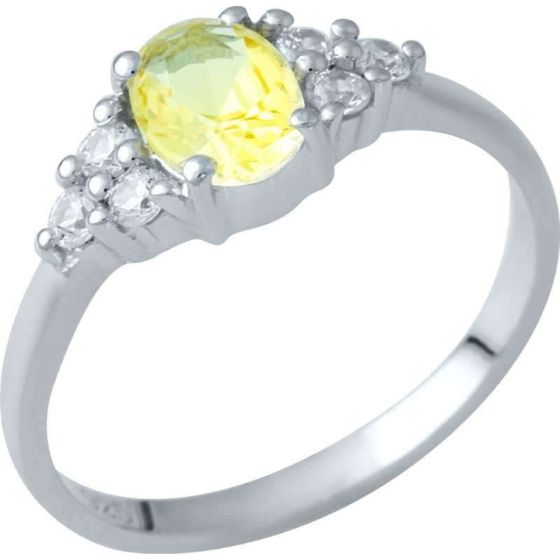 Серебряное кольцо SilverBreeze с цитрином nano (1936139) 17.5 размер
