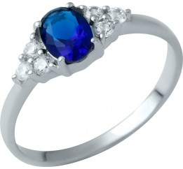 Серебряное кольцо SilverBreeze с сапфиром nano (1937716) 16.5 размер