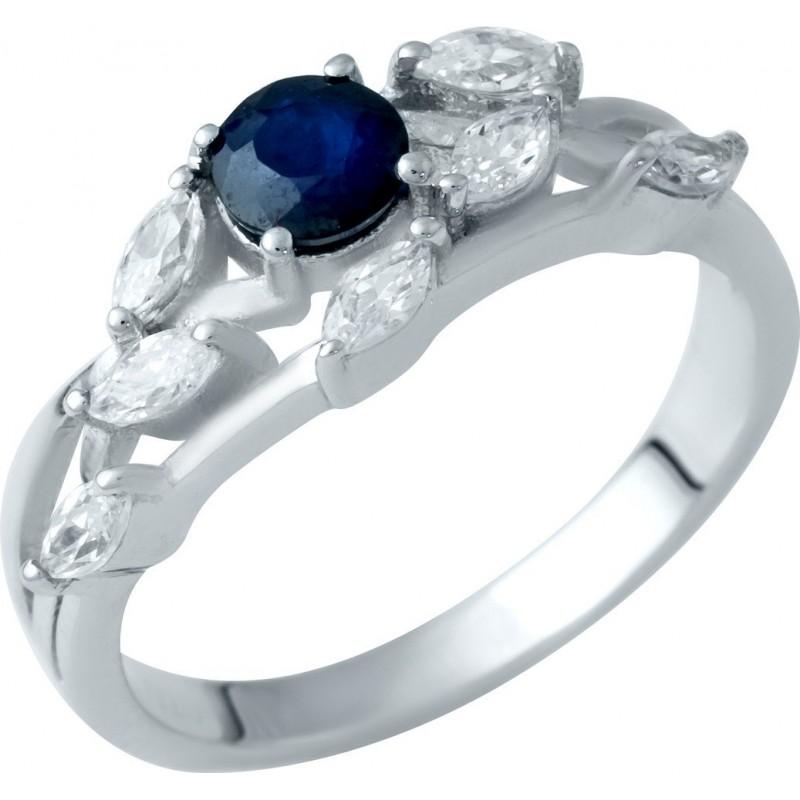 Серебряное кольцо SilverBreeze с натуральным сапфиром (1938201) 17 размер