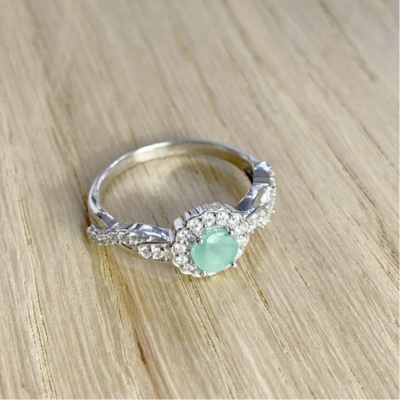 Серебряное кольцо SilverBreeze с натуральным изумрудом (1940549) 17.5 размер