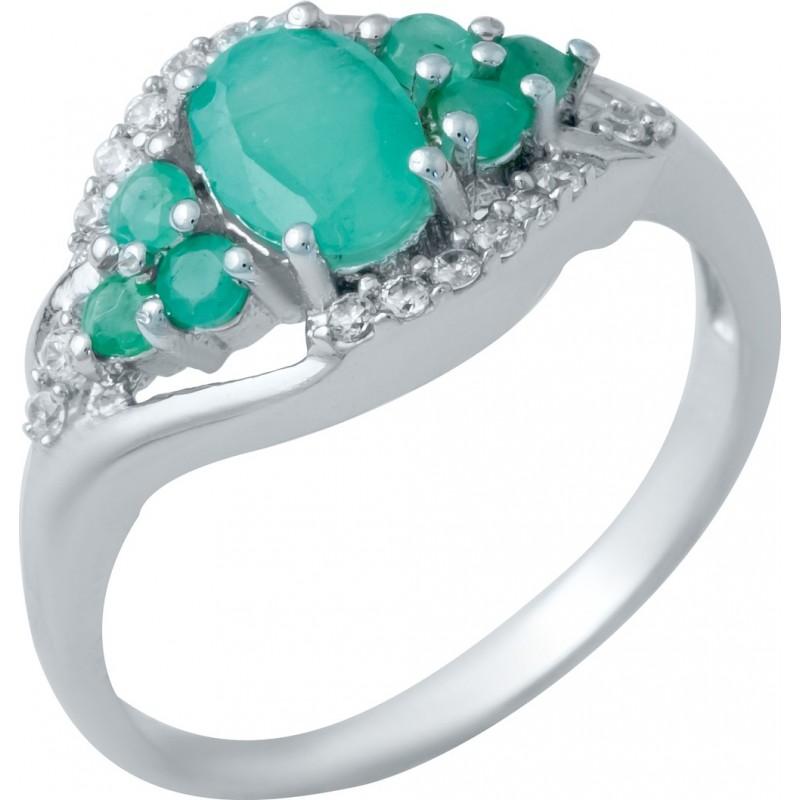 Серебряное кольцо SilverBreeze с натуральным изумрудом (1940679) 18.5 размер