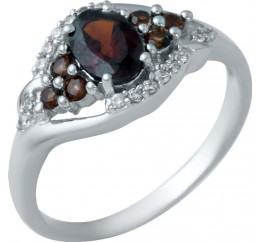 Серебряное кольцо SilverBreeze с натуральным гранатом (1940808) 18.5 размер