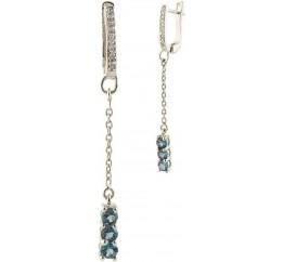 Серебряные серьги SilverBreeze с натуральным топазом Лондон Блю (0390215)