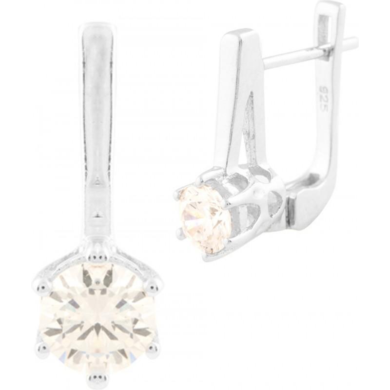 Серебряные серьги SilverBreeze с фианитами (0950884)