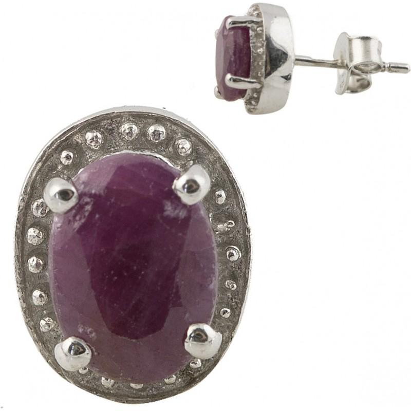 Серебряные серьги SilverBreeze с натуральным рубином (0804064)