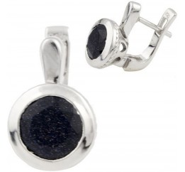 Серебряные серьги SilverBreeze с натуральным авантюрином (1091845)