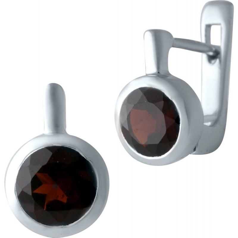 Серебряные серьги SilverBreeze с натуральным гранатом (1133361)