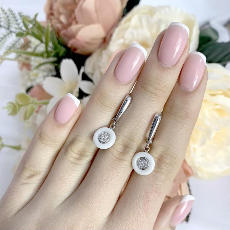 Серебряные серьги SilverBreeze с керамикой (1154434)