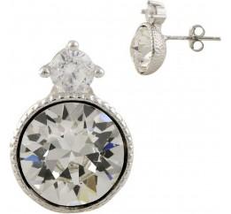 Серебряные серьги SilverBreeze с фианитами (1338728)
