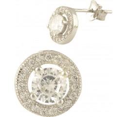 Серебряные серьги SilverBreeze с фианитами (1394120)
