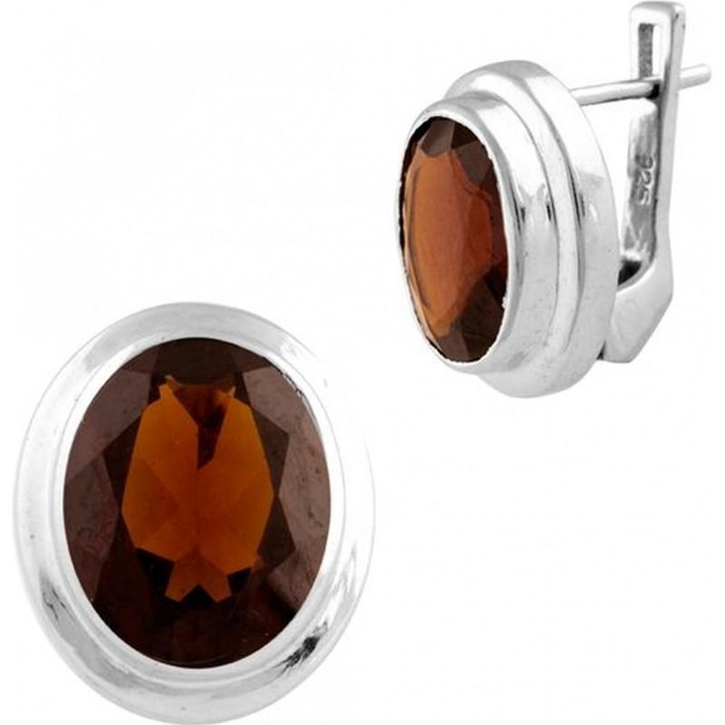Серебряные серьги SilverBreeze с натуральным гранатом (1451571)