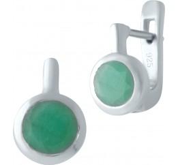 Серебряные серьги SilverBreeze с натуральным изумрудом (1516911)
