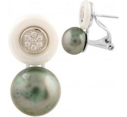 Серебряные серьги SilverBreeze с натуральным жемчугом, керамикой (1522011)