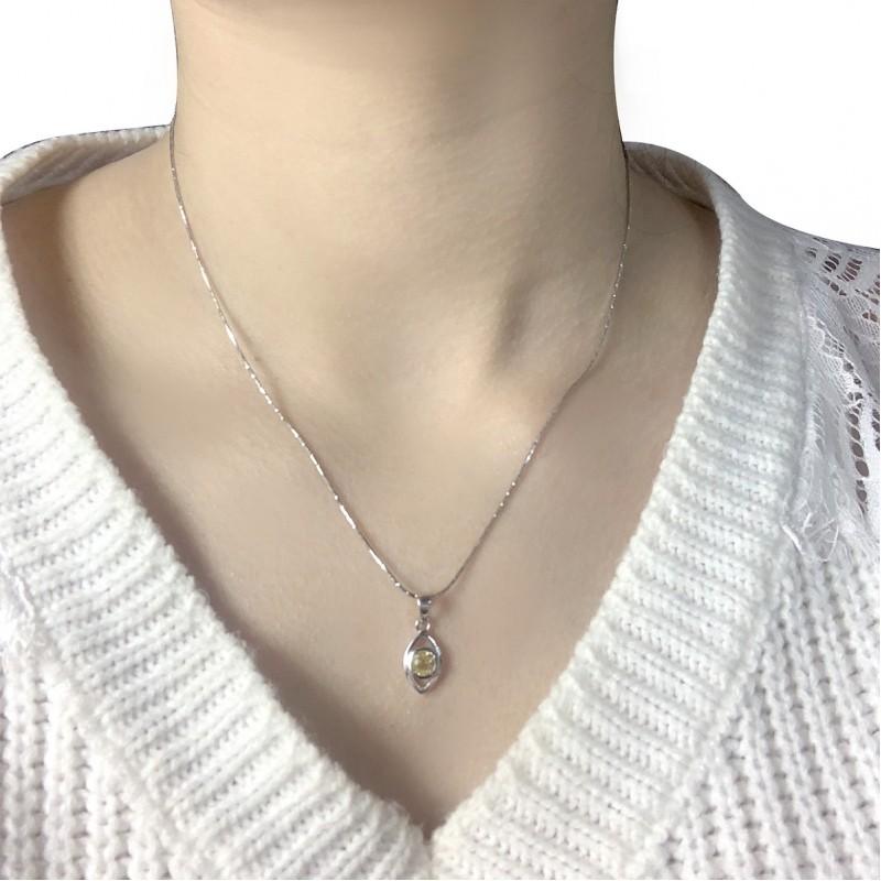Серебряная подвеска SilverBreeze с цитрином nano (1962640)