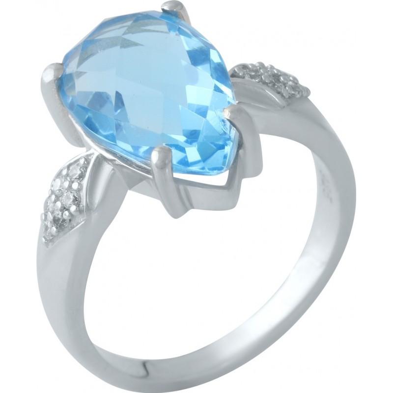 Серебряное кольцо SilverBreeze с аквамарином nano (1960202) 18 размер