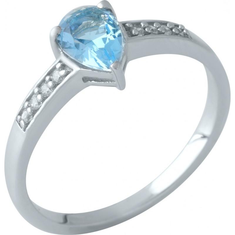 Серебряное кольцо SilverBreeze с аквамарином nano (1960219) 17.5 размер