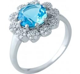 Серебряное кольцо SilverBreeze с аквамарином nano (1965320) 17 размер