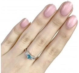Серебряное кольцо SilverBreeze с аквамарином nano (1968215) 17 размер