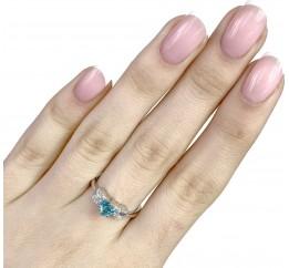Серебряное кольцо SilverBreeze с аквамарином nano (1968215) 17.5 размер