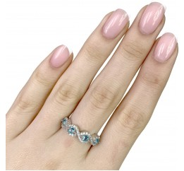 Серебряное кольцо SilverBreeze с аквамарином nano (1988732) 17 размер