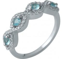 Серебряное кольцо SilverBreeze с аквамарином nano (1988732) 18 размер