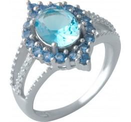 Серебряное кольцо SilverBreeze с аквамарином nano (1994559) 17 размер
