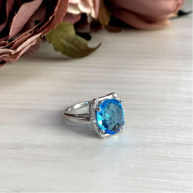 Серебряное кольцо SilverBreeze с аквамарином nano (1994566) 17 размер