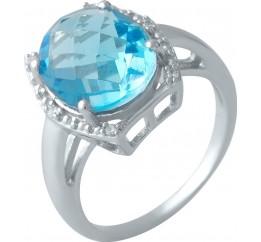 Серебряное кольцо SilverBreeze с аквамарином nano (1994566) 17.5 размер