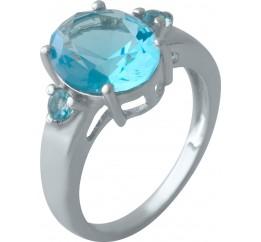 Серебряное кольцо SilverBreeze с аквамарином nano (2011545) 17 размер