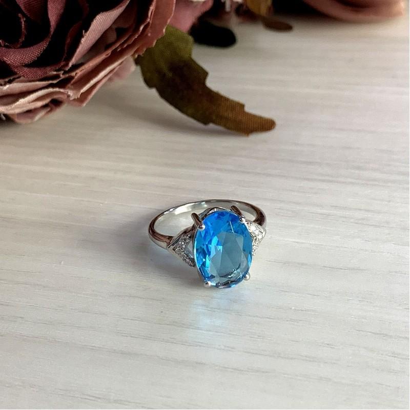 Серебряное кольцо SilverBreeze с аквамарином nano (2011682) 17 размер