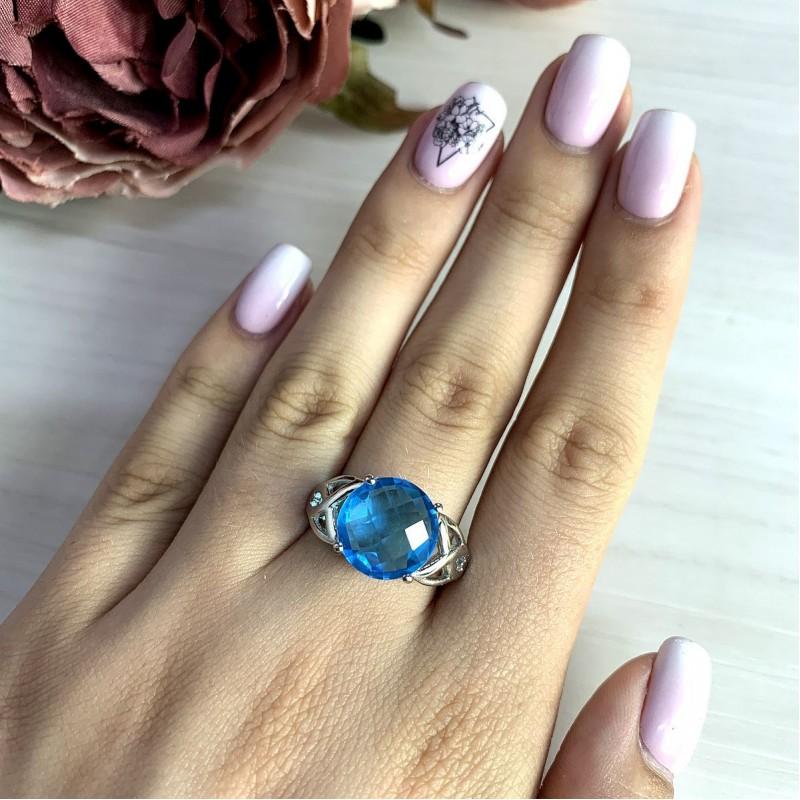 Серебряное кольцо SilverBreeze с аквамарином nano (2011910) 18 размер