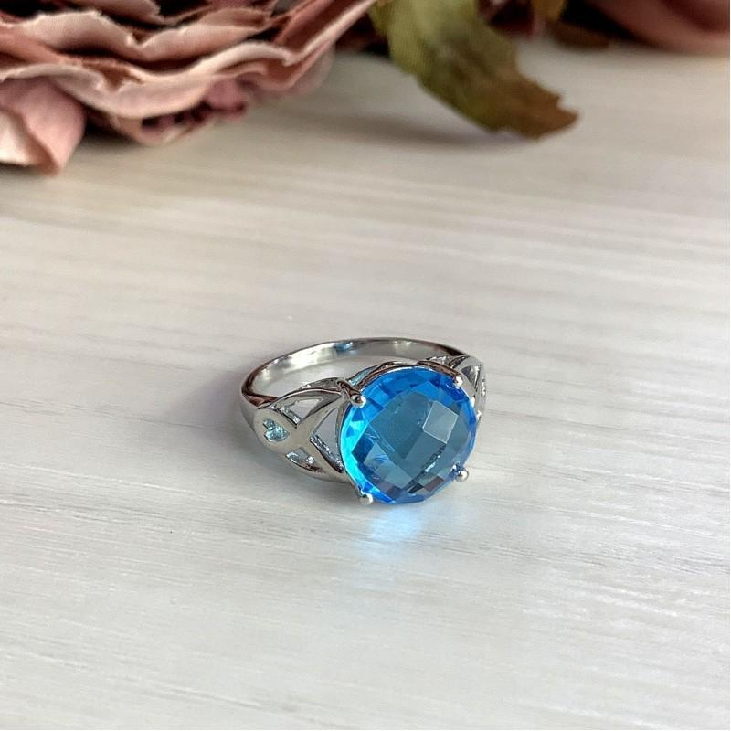 Серебряное кольцо SilverBreeze с аквамарином nano (2011910) 18.5 размер