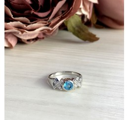 Серебряное кольцо SilverBreeze с аквамарином nano (2012481) 18 размер