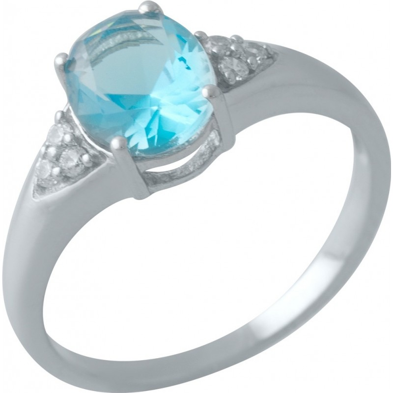 Серебряное кольцо SilverBreeze с аквамарином nano (2012665) 18 размер