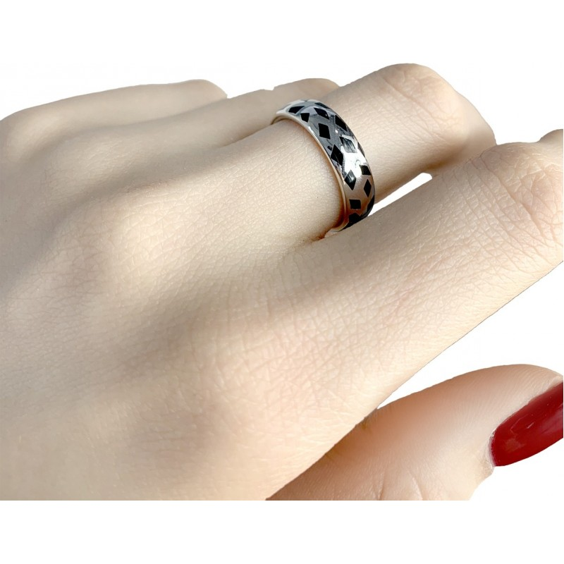 Серебряное кольцо SilverBreeze с емаллю (1985953) 16 размер