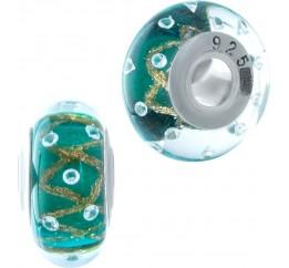 Серебряный шарм SilverBreeze с стеклом Мурано (1952641)