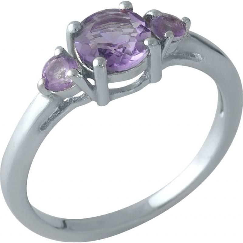 Серебряное кольцо SilverBreeze с натуральным аметистом (1996386) 17 размер
