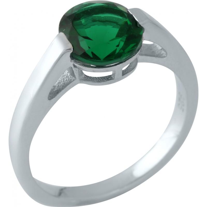 Серебряное кольцо SilverBreeze с изумрудом nano (1959596) 18 размер