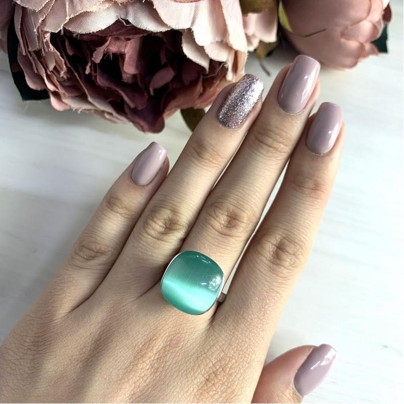 Серебряное кольцо SilverBreeze с кошачим глазом (2015635) 17 размер