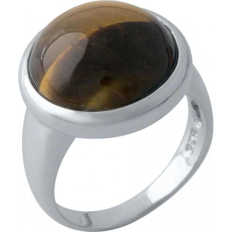 Серебряное кольцо SilverBreeze с тигровым глазом (1973479) 18.5 размер