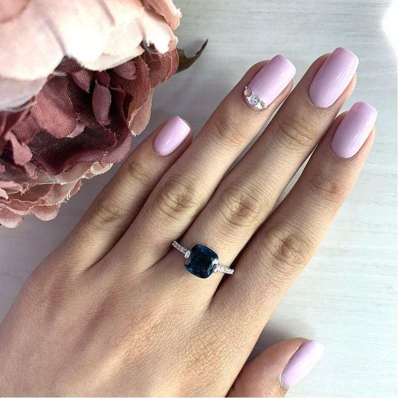 Серебряное кольцо SilverBreeze с натуральным топазом Лондон Блю (2019848) 17.5 размер