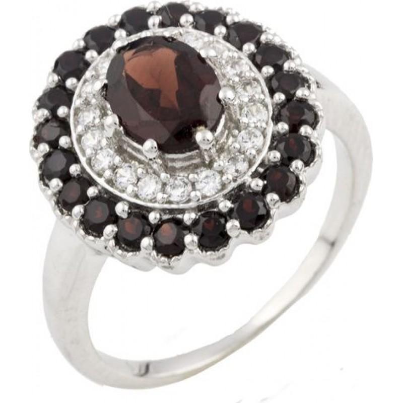 Серебряное кольцо SilverBreeze с натуральным гранатом (0477633) 18.5 размер