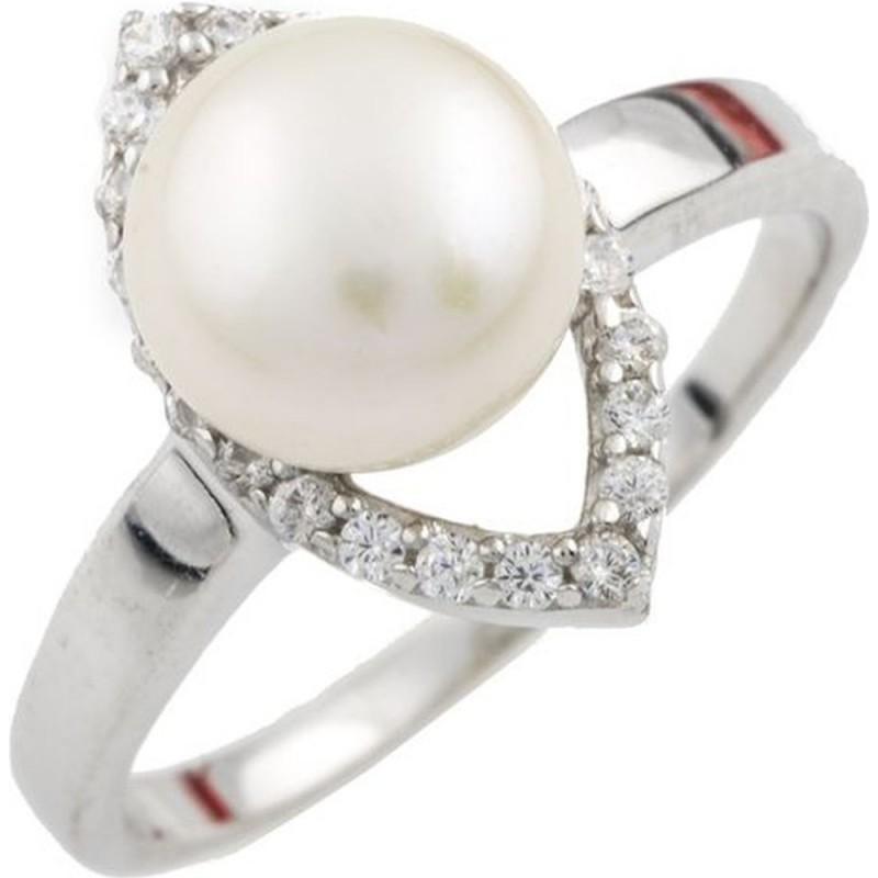 Серебряное кольцо SilverBreeze с натуральным жемчугом (0478760) 17.5 размер