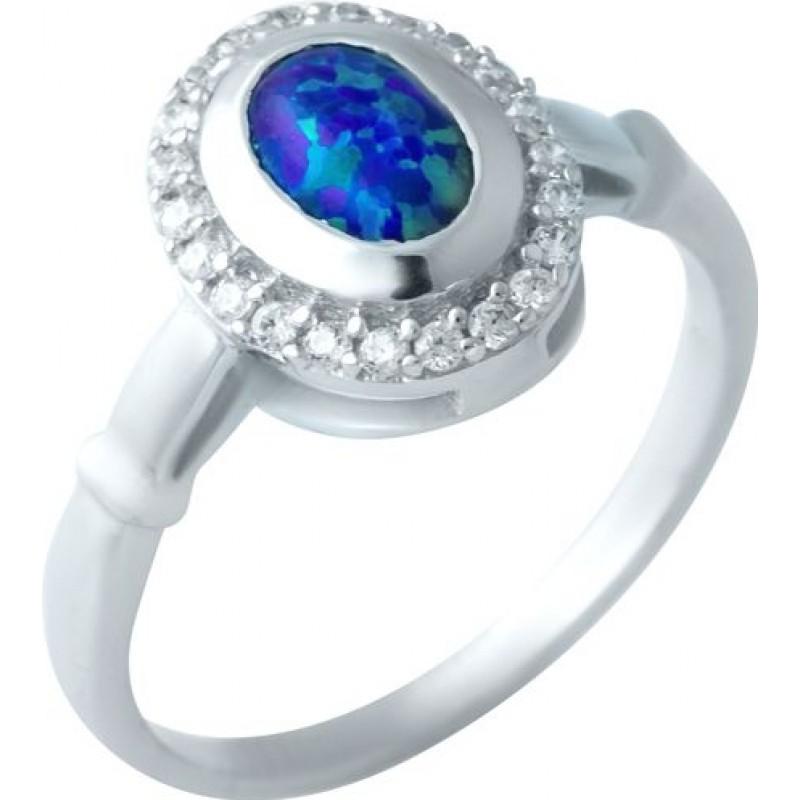 Серебряное кольцо SilverBreeze с опалом, фианитами (1922682) 18 размер