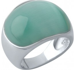 Серебряное кольцо SilverBreeze с кошачим глазом (1973714) 18 размер