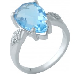 Серебряное кольцо SilverBreeze с аквамарином nano (1960202) 17.5 размер
