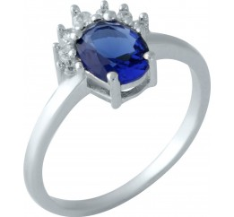 Серебряное кольцо SilverBreeze с сапфиром nano (1959350) 17 размер