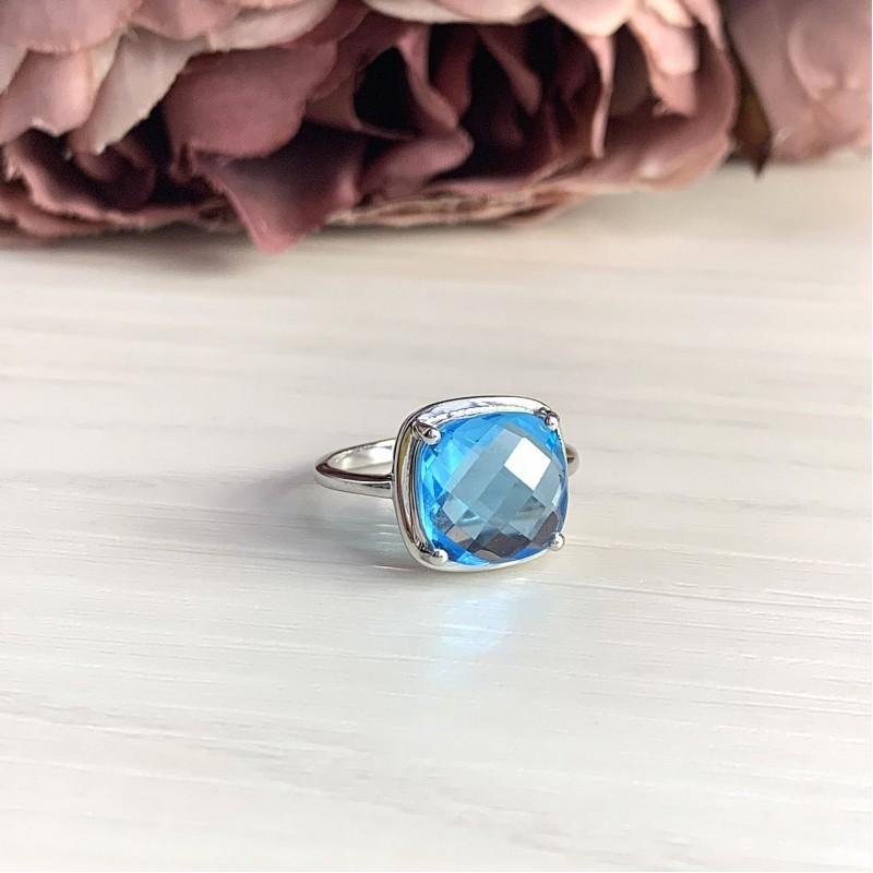 Серебряное кольцо SilverBreeze с аквамарином nano (1925201) 18 размер