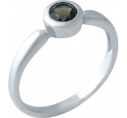 Серебряное кольцо SilverBreeze с натуральным раухтопазом (димчатим кварцем) (1965733) 18 размер